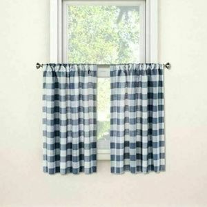 Threshold Ice Blueberry Check Window Curtain Panel
